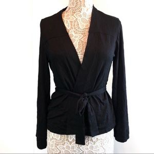 Anthropologie Cardigan Jacket Black XS Belt dolan